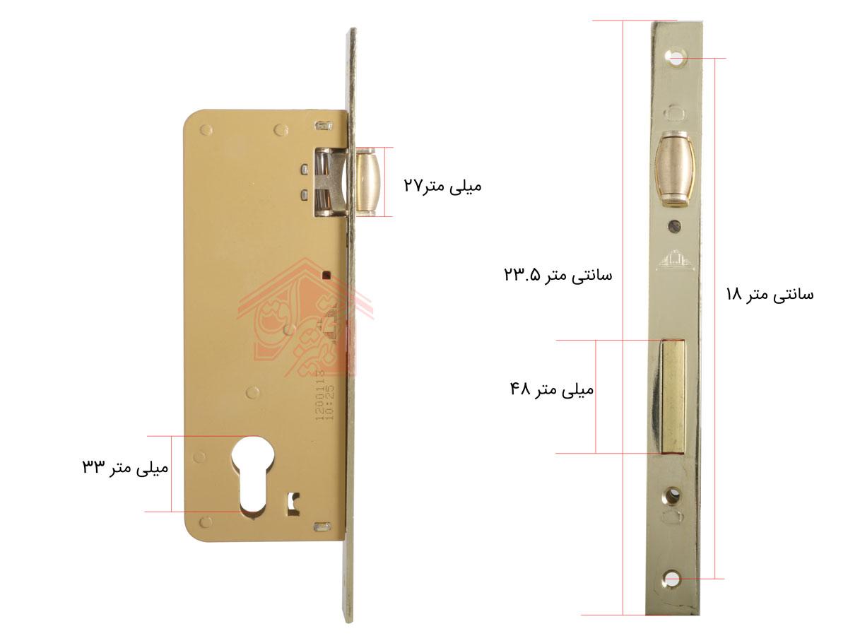 نمای سایز خورده قفل غلطکی 6.5 سانت دلتا