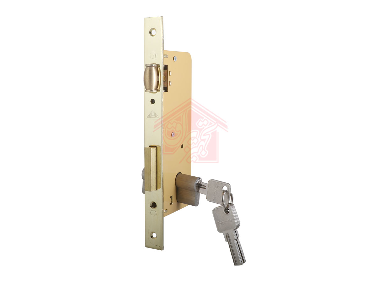 نمای 45 درجه قفل درب غلطکی 6.5 سانت دلتا همراه با سیلندر