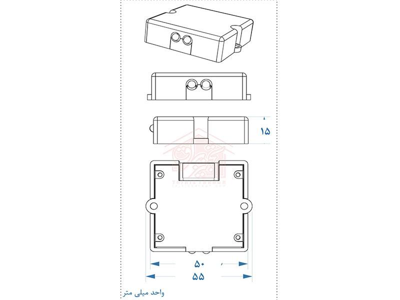 ابعاد فیزیکی سنسور داخل کابینت