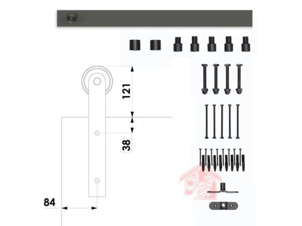 قطعات و ابعاد ریل و قرقره درب کشویی R-110