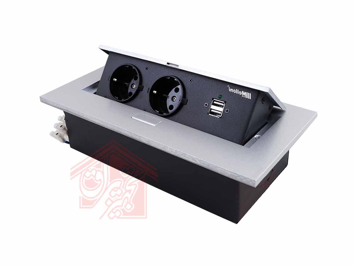 پریز-توکار-10017نقره-ای-ملونی-زاویه-45-درجه-درب-باز-تجهیزیراق
